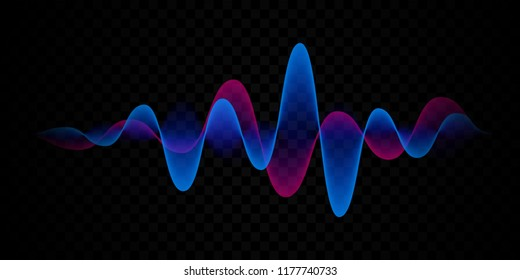 Sound wave line background. Vector abstract microphone voice or digital pulse gradient for technology pattern and music equalizer