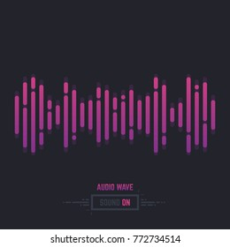 Sound wave line illustration. Gradient music equalizer. Dark background. Logo, icon or banner for audio track. Simple abstract wavefprm. Linear modern, trendy vector.