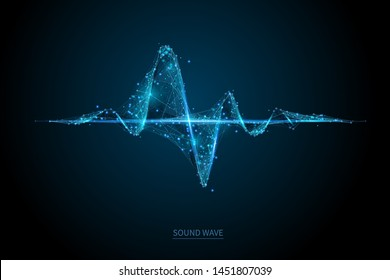 Sound wave low poly wireframe banner template. Polygonal illuminated media player digital equalizer mesh art illustration. 3D audio volume, music rhythm, heart beat with connected dots