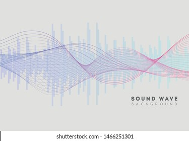 Sound wave music. Digital audio soundwave form equalizer. Stereo pulse voice frequency. Vibration frequency with wave line. Modern signal sonic abstract concept. Vector illustration.