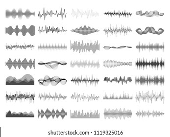 Sound wave and music digital equalizer panel. Soundwave amplitude form radio frequency musical sonic beat pulse and voice visualization vibration waves vector isolated icon illustration collection