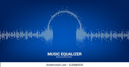 Sound wave Music Equalizer background, audio visual headphone icon signal
