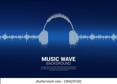 サウンドウェーブ音楽イコライザ背景。ラインウェーブグラフィックスタイルのオーディオビジュアルヘッドフォンアイコン
