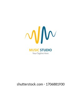 sound wave music logo vector template