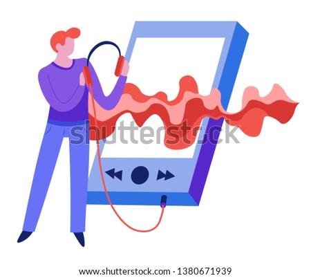 Sound Wave Music Man Player Listen Stock Vector (Royalty