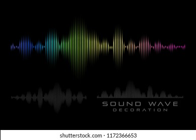 Sound wave on the black background. Rainbow symbol of  audio signal.