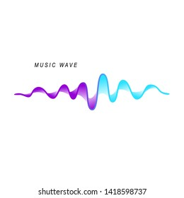 Sound wave on the white background. Symbol of audio signal.