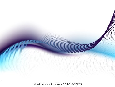 Sound wave, particle flow, effect in motion. Blurred bubbles vector abstract background. Abstract web smooth mild divider lines - fashion headers or footers. Vector illustration