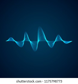 Sound wave pattern. Equalizer graf design. Abstract blue digital waveform. Vector illustration isolated on dark background