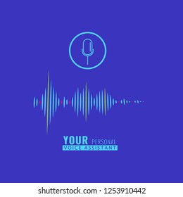 Sound wave for Personal assistant and voice recognition concept. Vector illustration.