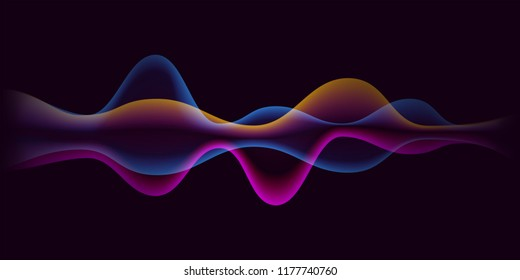 Sound wave or pulse line background. Vector abstract microphone voice digital gradient for music technology and equalizer pattern