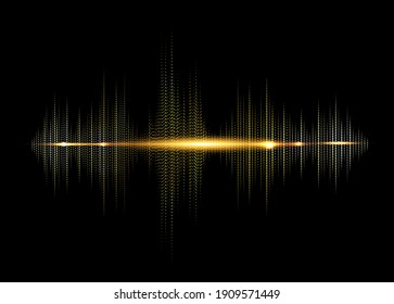 sound wave rhythm background. Golden color digital Sound Wave equalizer, technology and earthquake wave concept, Gold design for music industry. Glow Light Dot lines style Vector isolated on black