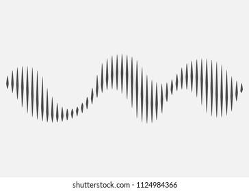 Sound wave rhythm.  Sound wave isolated on white background. Vector illustration. Eps 10.