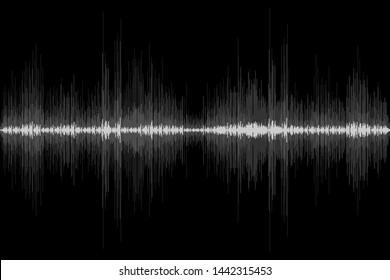 Sound wave rhythm on black background. Abstract motion audio signal symbol. Vector illustration