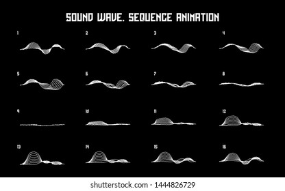 Sound wave sequence animation. Looped sprite for you motion design. Vector Illustration. EPS 10