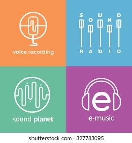 Sound wave symbols icons logo set. Detailed stylish modern flat vector illustration and design element.