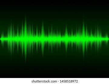 Sound wave vector background. Green digital equalizer