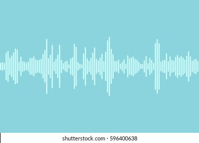 Sound wave vector. Blue Dynamic visual effect, modern simple background with white line isolated. Monochrome illustration.