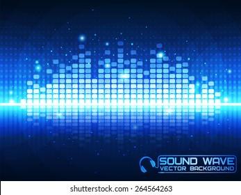 Sound wave. Vector Illustration of a blue music equalizer. EPS10.