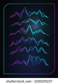 Sound wave vector . Vector music voice vibration, song waveform digital spectrum, audio pulse and waveform frequency equalizer.