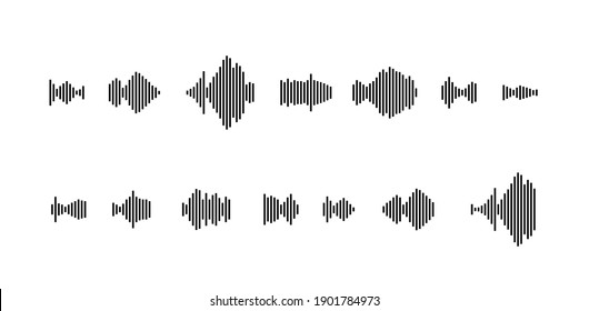 sound waveform icon for music player, podcasts, video editor, voise message in social media chats, voice assistant, dictaphone. vector illustration element