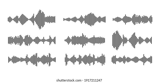 sound waveform pattern for music player, podcasts, video editor, voise message in social media chats, voice assistant, dictaphone. vector illustration element