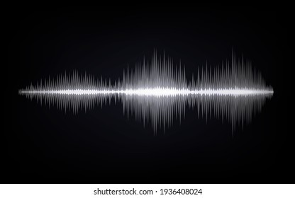 Sound waves. Abstract digital signal. Black and white equalizer indicators. Voice graph meter. Audio electronic tracks. Horizontal line with sharp peaks. Vector sonic vibration spectrum