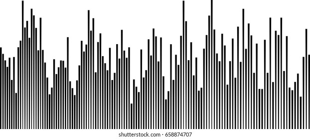Sound waves in black and white background. Analog signals or equalizer lines. VEctor illustration.