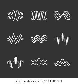 Sound waves chalk icons set. Music rhythm, heart pulse. Audio waves, sound recording, radio signals logotype. Digital waveforms, abstract soundwaves, amplitude. Isolated vector chalkboard illustration