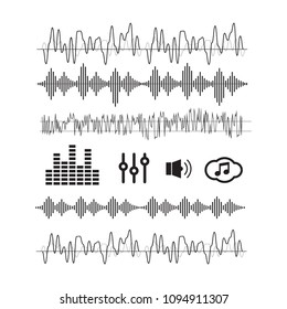 Sound waves concept. Sound waves vector. Sound waves sign and sy