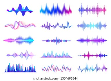 Sound waves. Frequency audio waveform, music wave HUD interface elements, voice graph signal. Vector audio wave set
