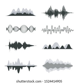 Sound waves. Frequency audio waveform, music wave HUD interface elements, voice graph signal. Vector audio wave set.
