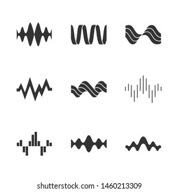 Sound waves glyph icons set. Silhouette symbols. Music rhythm, heart pulse. Audio waves, sound recording and radio signal logotype. Digital waveforms, abstract soundwaves. Vector isolated illustration