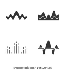 Sound waves glyph icons set. Silhouette symbols. Noise, vibration frequency. Volume, equalizer level wavy lines. Music waves, rhythm. Digital curve soundwaves logotype. Vector isolated illustration
