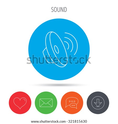 Sound Waves Icon Audio Speaker Sign Stock Vector (Royalty