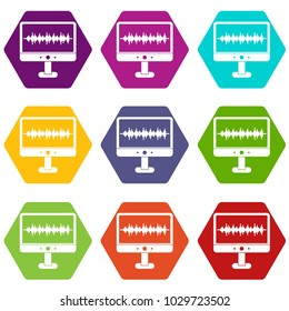 Sound waves icon set many color hexahedron isolated on white vector illustration