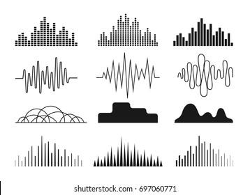 Sound waves icons set. Symbols for  audio equalizer technology, musical pulse emblem. Monochrome version