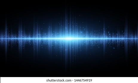 Sound waves of light blue on a dark background. Light effect. Background for the radio, club, party. Vibration of light. Bright flash of light with luminous dust. Vector illustration. EPS 10