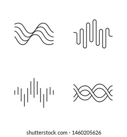 Sound waves linear icons set. Audio waves. Sound, voice recording. Music rhythm logotype. Digital waveform frequency. Thin line contour symbols. Isolated vector outline illustrations. Editable stroke