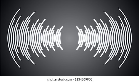Sound waves oscillating dark black light, Abstract technology background. Vector. loudspeaker