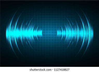Sound waves oscillating dark blue light, Abstract technology background. Vector.