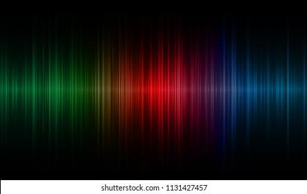 Sound waves oscillating dark blue red green light, Abstract technology background. Vector. loudspeaker