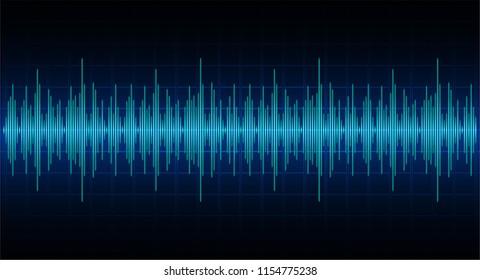 Sound waves oscillating dark blue light,  technology background. Vector. loudspeaker. ekg Heart wave, Pacemaker