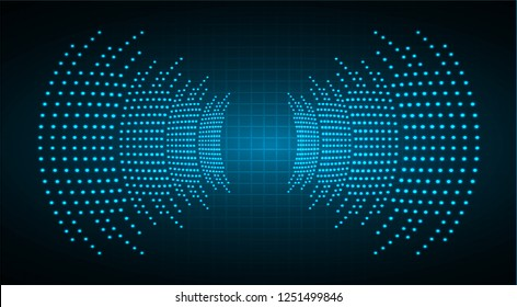 Sound waves oscillating dark blue light