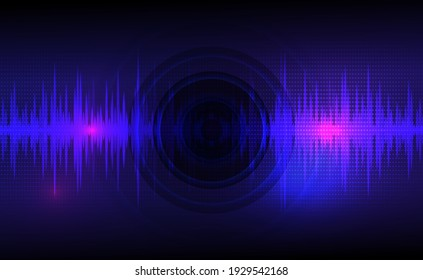 Sound waves oscillating dark blue and light pink with circle vibration, dot pattern. Abstract technology background. Vector illustration.