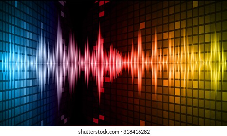Sound waves oscillating dark blue red yellow light, Abstract technology background. Vector.