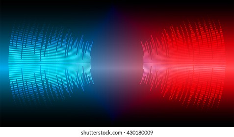 Sound waves oscillating dark blue red light, Wave Abstract technology background. Vector wave.