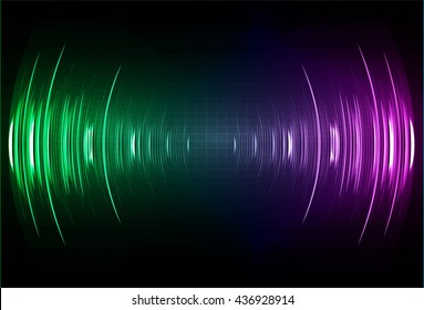 Sound waves oscillating dark blue purple green light, Wave Abstract technology background. Vector wave.