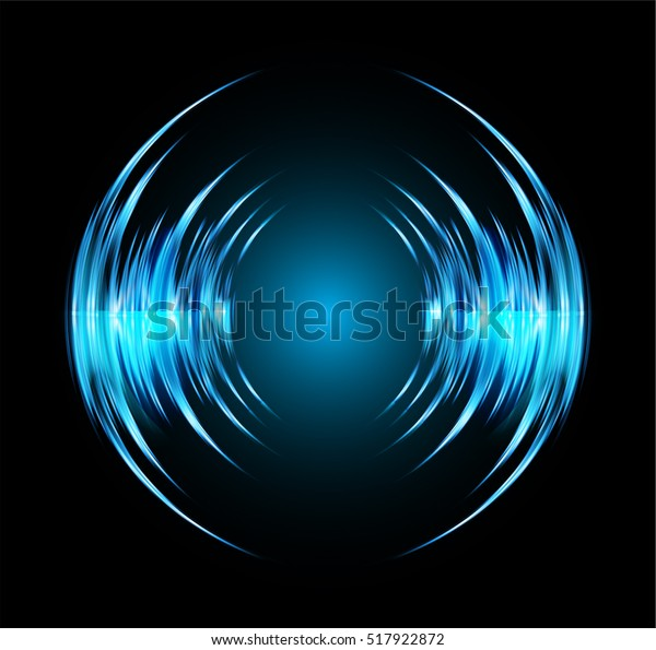 Sound Waves Oscillating Dark Blue Light Stock Vector