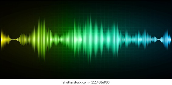 Sound waves oscillating dark green yellow blue light, Abstract technology background. Vector.